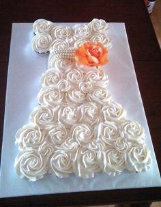 Bridal Gown Cupcake Cake | home wedding dresses wedding shower cupcake dress cake art ideas for ...