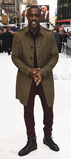 Idris Elba wearing a Burberry trench coat at the London premiere for 'Star Trek Beyond' last night