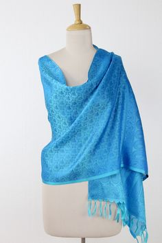 ccea2f6a0f29d Hand Crafted Blue Floral Varanasi Silk Wrap from India - Floral Shower |  NOVICA Silk Wrap