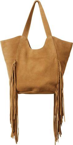Leather fringed bag