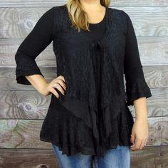 Black Layered Lace Plus Size Tunic