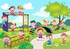 Cartoon Pics, Cartoon Drawings, Playground Design, Children Playground, Drawing Scenery, Kids Background, Colouring Pics, Retro Cartoons, Happy Kids