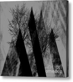 Trees V Acrylic Print by PIA Schneider #art #trees #branches #gray #black #abstract #art #modern #piaschneider #landscape #nature #collage #illustration  #fineartamerica #canvasprint #artprints #kunst #kunstdrucke
