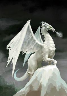 Dragon white on top of mountain
