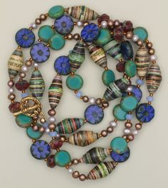 Paper Beads, Freshwater Pearls and Czech Glass Beads Long Necklace and from sundancegems on Ruby Lane