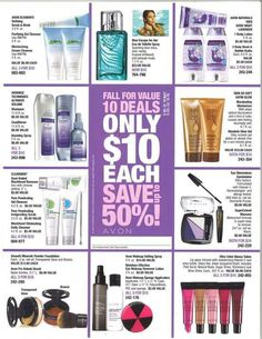 10 Deals for only $10 each! Go to www.youravon.com/meganlacey or contact me!