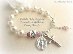 Personalized Birthstone Catholic Baby Baptism Bracelet with Initial Bead and Birthstone of your Choice Baby Baptism, Christening, Our Father Prayer, Baptism Favors, Baptism Ideas, Irish Jewelry, Religious Jewelry, Letter Beads, First Holy Communion