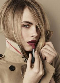 Dying to try out Burberry's new line of matte lipsticks. Love that burgundy shade on Cara Delevingne! -- Burberry Beauty Model: Cara Delevingne -- Shop the Lip Velvet collection HERE. Cara Delevingne Burberry, Cara Delevigne, Makeup Trends, Makeup Tips, Hair Makeup, Blonde Makeup, Beauty Make Up, Hair Beauty, Batons Matte