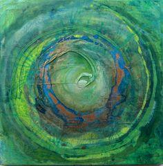 Mandala grünblau, Acryl gegossen, Gold auf Leinwand
