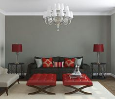 my favorite home decor colour scheme | warm gray and red color scheme