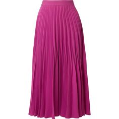 Co Pleated crepe midi skirt ($795) ❤ liked on Polyvore featuring skirts, magenta, mid-calf skirts, purple midi skirt, crepe skirt, calf length skirts and knee length pleated skirt