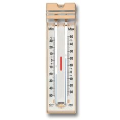 The Quick Set Max Min thermometers have a popular design in a cream moulding with black printed temperature scale. Our low cost max min thermometer model has a push button resetting device.
