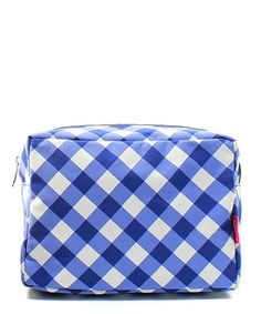 """Plaid Gingham Checkered Navy Blue Cute Patterned 9"""" Cosmetic Bag Makeup Case"""