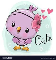 Cute Chick on a Blue background. Cute Cartoon Chick on a Blue background vector illustration Cartoon Cartoon, Cute Cartoon Images, Cartoon Birds, Cute Cartoon Animals, Cute Images, Cute Pictures, Cute Animals, Cute Drawings, Animal Drawings