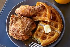BUTTERMILK FRIED CHICKEN AND CORNMEAL WAFFLES WITH APPLE CIDER SYRUP