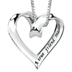 Sterling Silver A True Friend Reaches For Your Hand But Touches Your Heart Ribbon Heart Pendant 18 Best Friend Necklaces, Best Friend Jewelry, Friendship Necklaces, Heart Pendant Necklace, Diamond Are A Girls Best Friend, Heart Charm, Silver Jewelry, Pendants, Bling