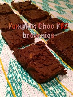 In a food processor or blender combine 1 cup organic pumpkin puree, 1/2 cup choc PB2 (prepared with 1/4 cup water), 1/4 cup all natural unsweetened cocoa powder, 1/4 cup coconut flour & 1 T trivia brown sugar blend. Process until smooth. Could chose to add in a handful choc chips. Pour in a loaf pan lined with parchment paper & bake at 350 degrees for 20 minutes. Enjoy!