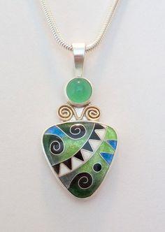 Michael Romanik- Cloisonne enamel pendant - Royal Trilliant Pendant - Green and blue - chrysoprase- 14K gold - order only.