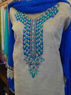 Colors & Crafts Boutique™ offers unique apparel and jewelry to women who value versatility, style and comfort. For inquiries: Call/Text/Whatsapp Embroidery On Kurtis, Hand Embroidery Dress, Kurti Embroidery Design, Embroidery Neck Designs, Embroidery Works, Embroidery Suits, Punjabi Dress, Pakistani Dresses, Punjabi Suits