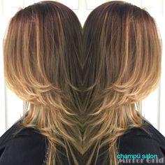 Copper gold ombré on dark auburn hair. Champü salon