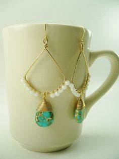 Turquoise Earrings White Earrings Boho by ArtbyCateJewelry on Etsy, $50.00