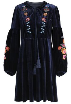 Resplendent Boho Embroidered Velvet Dress in Navy - New Arrivals - Retro, Indie and Unique Fashion