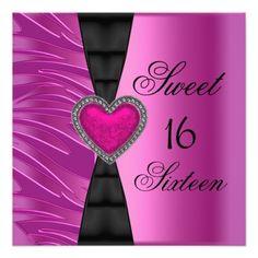 Sweet 16 Sixteen Birthday Party Pink Zebra Wild Personalized Invitation