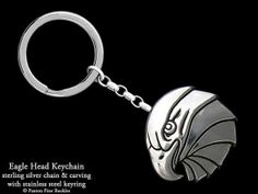 Eagle Head Keychain / Keyring Sterling Silver by PaxtonJewelry, $158.00