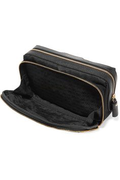 5aac4b041d8d Anya Hindmarch - Make Up Small Leather-trimmed Shell Cosmetics Case - Black Cosmetic  Case