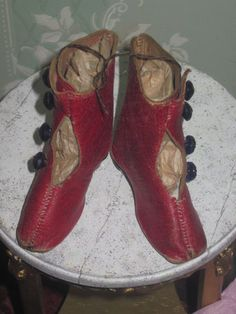 Pair of Antique Red Leather French Fashion Doll Boots! - Dorian's Doll Room #dollshopsunited