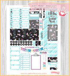 Rainbow Unicorns & Glitter  Printable Planner Stickers