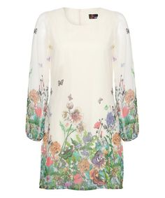 Look at this #zulilyfind! Ivory & Blue Butterfly Floral Shift Dress #zulilyfinds