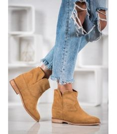 Aesthetic cowboy boots are made of ecological leather with suede finish. These shoes are slipped on and their uppers extend to the ankle. The inside of the boots is insulated, so Suede Cowboy Boots, Brown Boots, Types Of Heels, Cold Day, Shoe Boots, Shoes, Wedge Heels, Winter Fashion, Slip On