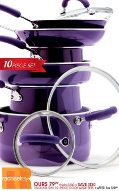 Rachael Ray 10-Piece Cookware Sets~I got the red set but I REALLY like this color too...what to do, what to do?!