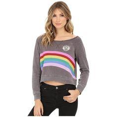 Billabong All Over Pullover Women's Sweatshirt ($45) ❤ liked on Polyvore featuring tops, hoodies, sweatshirts, boat neck tops, crop top, long sweatshirt, billabong sweatshirt and raglan sleeve sweatshirt