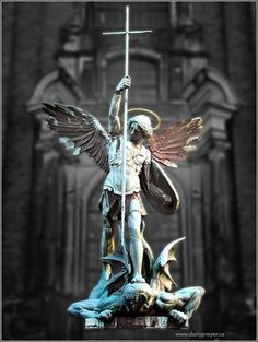 Archangel Michael by August Vogel, ca. 1907. This statue of Michael triumphant over Satan, taken from Revelation, stands in front of the Church of St. Michael in Hamburg, Germany.