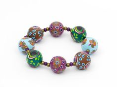 bracelet, fimo, arcilla,  Armband Polymer Clay, Fimoperlen Lampwork  von filigran-Design   aus greiz auf DaWanda.com