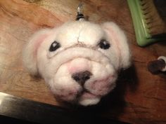 Needle Felted English Bulldog Puppy Ball by QueenBeeByTheSea