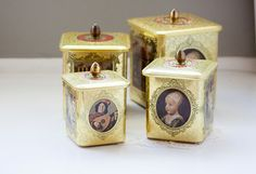 Four Baroque Style Embossed Metal Tins Made in by hipandcrafty