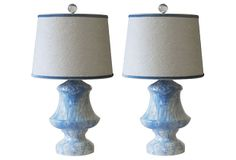 Blue & white marble glaze lamps.