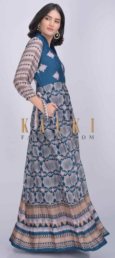 Buy Online from the link below. We ship worldwide (Free Shipping over US$100)  Click Anywhere to Tag Yale blue cotton silk anarkali suit with tribal print only on Kalki Yale blue cotton silk anarkali suit with tribal print.Crafted with mandarin collar, front buttons and 3/th bishop sleeves with a tied bow.