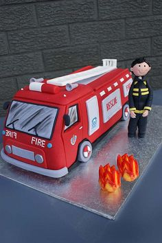 Fire Truck by ~Verusca Little Boy Cakes, Cakes For Boys, Cupcakes, Cupcake Cakes, Fire Engine Cake, Fireman Party, Fireman Sam, Fire Cake, Fire Fighter Cake
