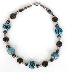 pictures of beaded necklace designs | Chocolate And Turquoise Lampwork Bead Necklace