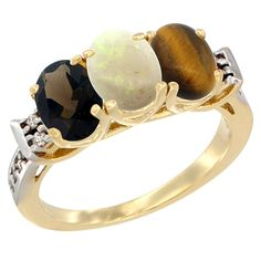 10K Yellow Gold Natural Smoky Topaz, Opal and Tiger Eye Ring 3-Stone Oval 7x5 mm Diamond Accent, sizes 5 - 10 * See this great image  : Jewelry Ring Bands