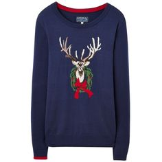 Joules Festive Intarsia Jumper, Navy (5.110 RUB) ❤ liked on Polyvore featuring tops, sweaters, navy blue long sleeve top, blue sweater, intarsia sweater, navy sweater and blue christmas sweater