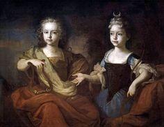 Каравак Людовик (Caravaque). Петр Алексеевич (царевич) и Наталья Алексеевна (царевна), в детском возрасте в виде Аполлона и Дианы, 1722