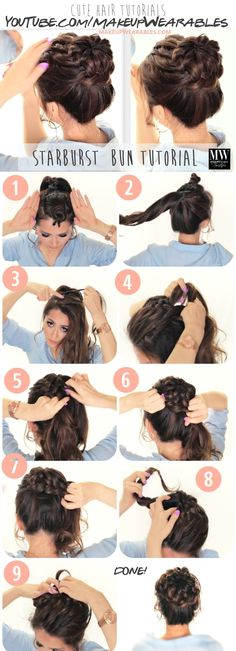 In this quick updo video, learn how to do an everyday Starburst Braided Bun hairstyle on yourself for medium or long hair lengths. (Prom Hair How To) Starburst Braid, Braided Bun Hairstyles, Hairdos, Side Hairstyles, Back To School Hairstyles, Summer Hairstyles, Wedding Hairstyles For Long Hair, Summer Braids, Brazilian Hair