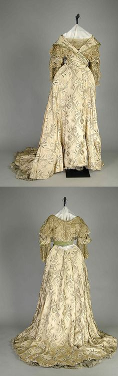 Evening dress Design House: Rouff (French, 1844–1914) Date: 1883–96 Culture: French Medium: Silk Brooklyn Museum Costume Collection at The Metropolitan Museum of Art