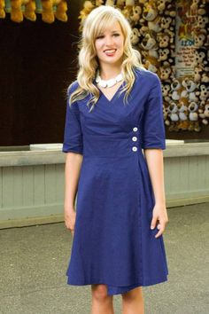 Shop for beautiful royal blue double breasted wrap dresses with elbow length half sleeves online at Shabby Apple. Find vintage and retro style modest clothing for women in all colors, sizes, fabrics and styles!