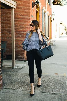 Spring Work Outfit Ideas * Gingham Top * Black Heels for Work * Ann Taylor Black Heels * Business Casual * Dagne Dover Black Tote